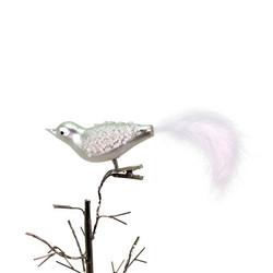 Lintu klipsi kiinnitys, valkoinen, lasia (3kpl)