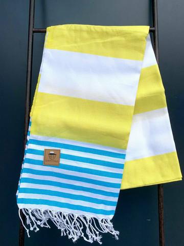 Hamam pyyhe SUMMER, keltainen/turkoosi, 100x180cm