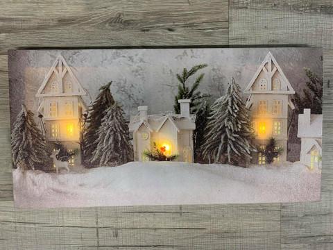 Led-taulu 20x40cm talvinen kylä (ajastin)
