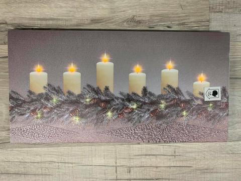 Led-taulu 20x40cm kynttilät pinella (puhallustoiminto)