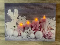 Led-taulu 30x40cm kynttilä Roosa (puhallustoiminto)
