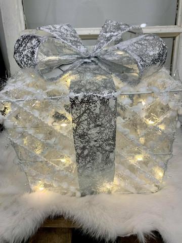 Lahjapaketti led-valoilla, valkoinen, koko M