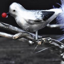 Lintu klipsi kiinnitys, marja, lasia (3kpl)