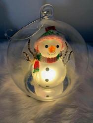 Lasipallo, lumiukko led-valoilla