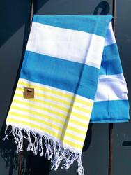 Hamam pyyhe SUMMER, sininen/keltainen, 100x180cm