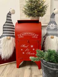 Iso jouluinen postilaatikko, punainen, metallia