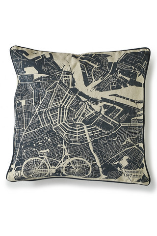 Amsterdam Loft Map Pillow Cover 50x50