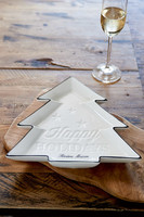 Happy Holidays Christmas Tree Plate