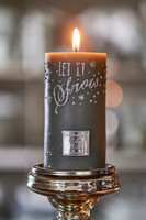Let It Snow Candle grey 7x13