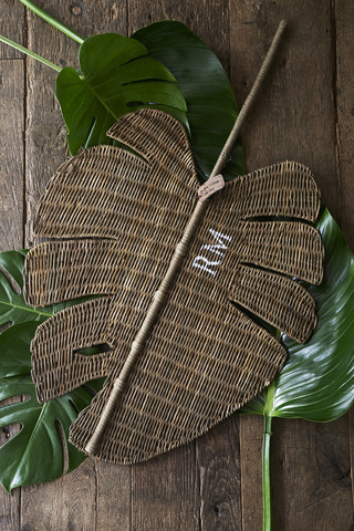 Rustic Rattan Monstera Leaf