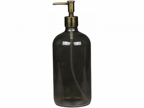 Lasinen pumppupullo+lisäpumppu 1000ml, harmaa