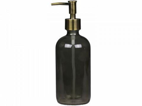 Lasinen pumppupullo+lisäpumppu 480ml, harmaa