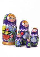 Violetti koria kantava-kukkamaatuskanukke (5 nukkea sisäkkäin)