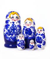 Sinivalkoinen koristeellinen maatuskanukke (5 nukkea sisäkkäin)