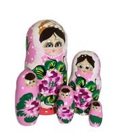 Vaaleanpunainen kukallinen maatuskanukke (5 nukkea sisäkkäin)