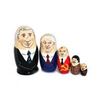 Venäjä/Neuvostojohtajat-karikatyyrimaatuskanukke (5 nukkea sisäkkäin)