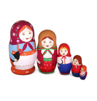Retrotyylinen venäläinen maatuskanukke (5 nukkea sisäkkäin)