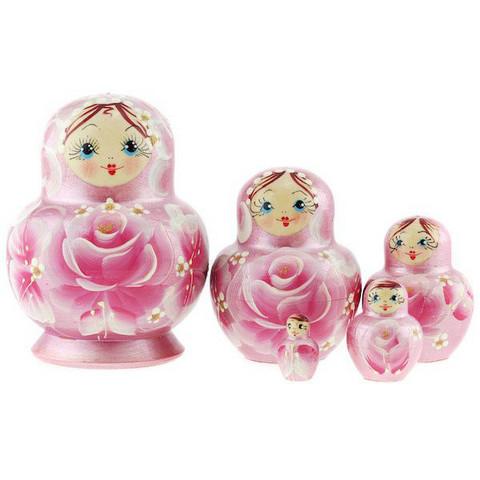 Koristeellinen vaaleanpunainen kukkamaatuskanukke (5 nukkea sisäkkäin)