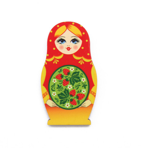 Keltapunainen mansikkamaatuska-jääkaappimagneetti