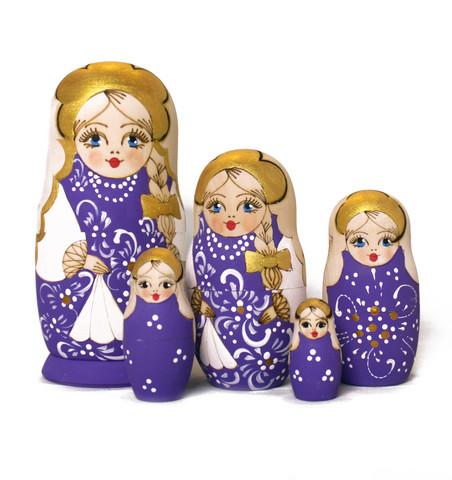 Violetti polttokuvioitu maatuskanukke (5 nukkea sisäkkäin)