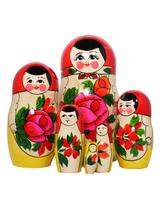 Keltapunainen ruusumaatuskanukke (7 nukkea sisäkkäin)
