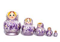 Koristeellinen violetti kukkamaatuskanukke (5 nukkea sisäkkäin)