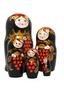 Punamusta pihlajamaatuskanukke (5 nukkea sisäkkäin)