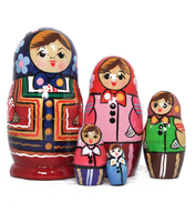 Perinteinen venäläinen Starorusskaya-maatuskanukke (5 nukkea sisäkkäin)