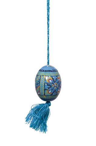 Käsinmaalattu sininen Pysanka-muna