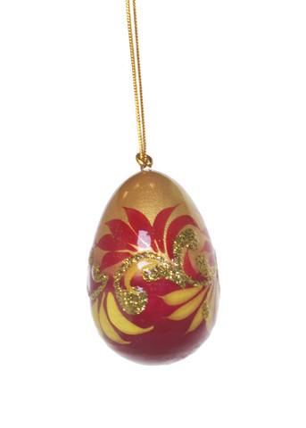 Käsinmaalattu venäläinen joulukuusenkoriste (punainen/kulta)
