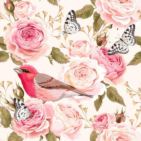 Ruusut ja linnut, vaaleanpunainen