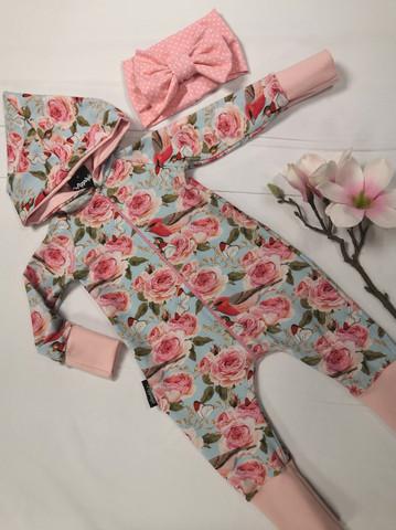 Vaaleansininen ruusu + linnut jumppis