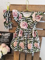 Ruusut raidoilla mekko olkafrilloilla