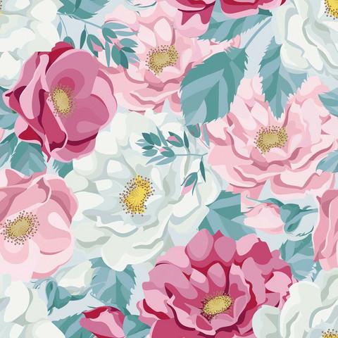 Ruusunnuput trikoo, turkoosi-pinkki