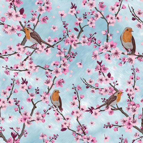 Kirsikankukka trikoo, vaaleansininen