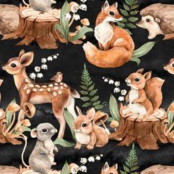 Bambi ja muut metsäneläimet trikoo, musta