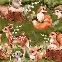 Bambi ja muut metsäneläimet trikoo, vihreä