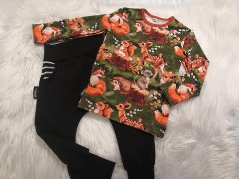 Vihreä Bambi ja metsäneläimet paita