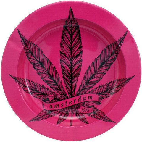 Amterdam Tin Ashtray Pink Leaf