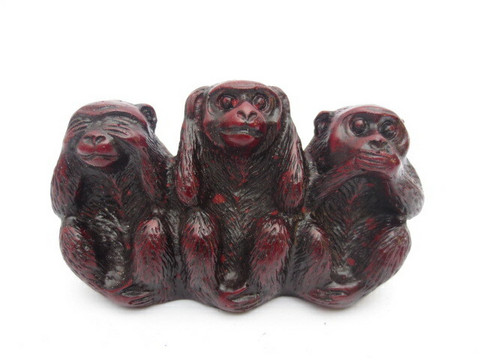 Three Wise Monkeys Red Small