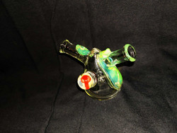 Polte Glass Joint Bubbler Lime And Red Shroom