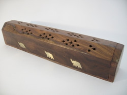 Wooden Incense Holder w. Brass Inlay Elephant