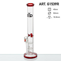 Grace Glass Straight Red Bong - H: 45cm