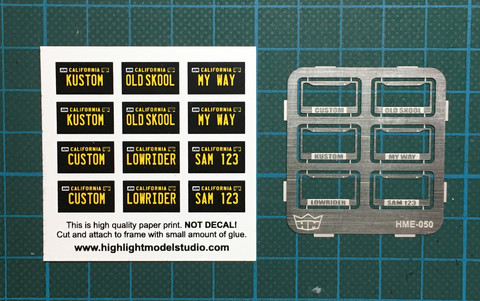 HME-050, License plate frames + license plates
