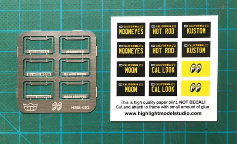 HME-052, MOONEYES license plate frames + plates