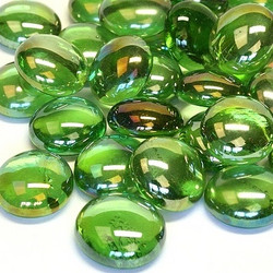 Glass Gems, 100 g, Green Diamond, transparent