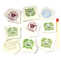 Pieces of cup, stamps, 9 pcs