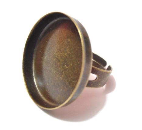 Sormuspohja, pyöreä, 25 mm, väri pronssi