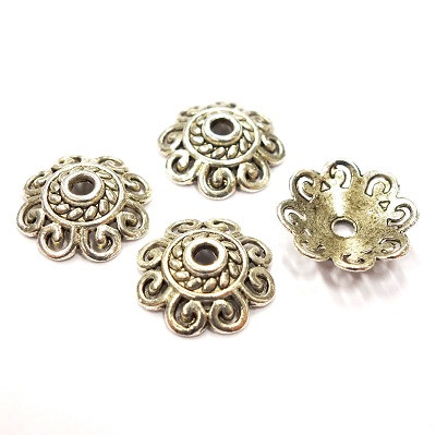 Bead cap, Flower, 4 pcs