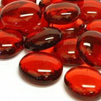 Glass Gems, 500 g, Red Crystal, transparent